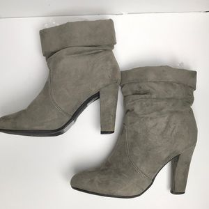 Express Booties Slouchy Suede Gray